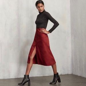 Reformation Red Malone Midi Skirt